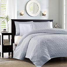 Madison Park Quebec King/Cal King Quilted Coverlet Mini Set - Gray