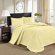 Madison Park Quebec Queen Quilted Bedspread Set - Yellow