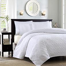 Madison Park Quebec Twin/Twin XL Quilted Coverlet Mini Set - White