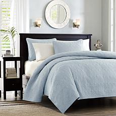 Madison Park Quebec Twin/Twin XL Quilted Coverlet Mini Set - Blue