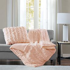 """Madison Park Ruched Fur Throw 50"""" x 60"""""""