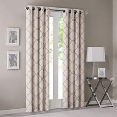 "Madison Park Saratoga Fretwork Curtain-Beige-50""x95"""