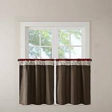 "Madison Park Serene Embroidered Kitchen Curtain-Red-60""x24"""