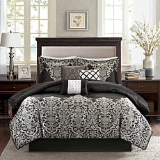 Madison Park Vanessa Black 7pc Comforter Set - Queen
