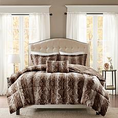 Madison Park Zuri  Faux Fur Comforter Set - Chocolate-K