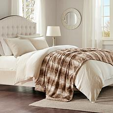 "Madison Park Zuri Faux Fur Oversized Bed Throw 96""x80"" - Tan"
