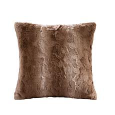 "Madison Park Zuri Faux Fur Square Pillow 20""x20"" -  Tan"