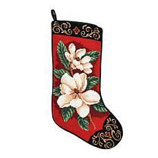 Magnolias On Red Needlepoint  Stocking