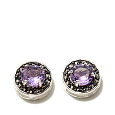 Marcasite and Amethyst Sterling Silver Stud Earrings