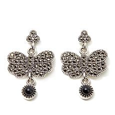 Marcasite and Black Agate Butterfly Sterling Earrings