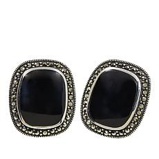 Marcasite and Black Onyx Rectangular Sterling Silver Stud Earrings