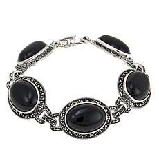 "Marcasite and Black Onyx Sterling Silver 7-1/2"" Line Bracelet"