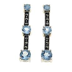 Marcasite and Blue Topaz Sterling Silver 3-Stone Drop Earrings