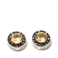Marcasite and Citrine  Sterling Silver Stud Earrings