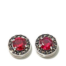 Marcasite and Created Ruby Sterling Studs