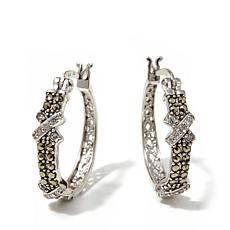 "Marcasite and CZ Double ""X"" Sterling Silver Hoops"