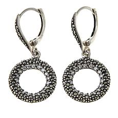 Marcasite and CZ Sterling Silver Open Circle Drop Earrings