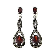 Marcasite and Garnet Sterling Silver Infinity Drop Earrings