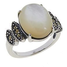 Marcasite and Mother-of-Pearl Oval Cabochon Ring