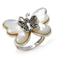 Marcasite and Mother-of-Pearl Sterling Butterfly Ring