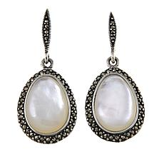 Marcasite and Mother-of-Pearl Sterling Silver Oval Drop Earrings