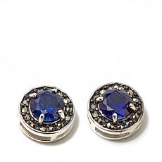 Marcasite and Synthetic Blue Sapphire Sterling Studs