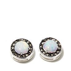 Marcasite and Synthetic Opal Sterling Stud Earrings