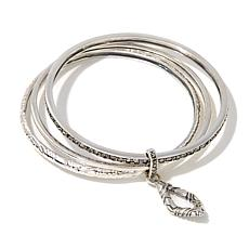 Marcasite Connected Sterling Silver Bangle Bracelet Set