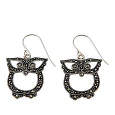 Marcasite Sterling Silver Owl-Design Drop Earrings