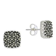 Marcasite Sterling Silver Square Stud Earrings