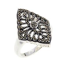 Marcasite Swirl-Design Sterling Silver Ring