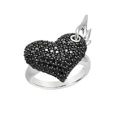 Margo Manhattan Sterling Silver Pavé Gemstone Heart Wing Ring