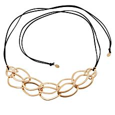 """MarlaWynne 61"""" Circle Link Black Suede Cord Necklace"""