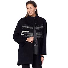 MarlaWynne Embroidered Wool Blend Detailed Coat