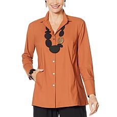 MarlaWynne Luxe StretchTech Shirt with Pockets and Pleats