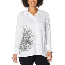 MarlaWynne Printed Stretch Poplin Shirt