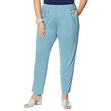 MarlaWynne Pull-On Linen Jersey Slouch Ankle Pant