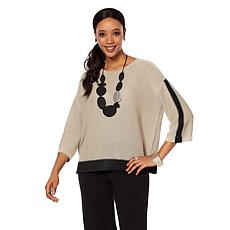 MarlaWynne Pullover Sweater with Metallic Details