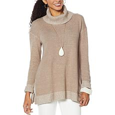 MarlaWynne Stipple Marled Knit Turtleneck