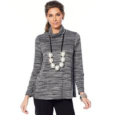 MarlaWynne Textured Knit Turtleneck Butterfly Tee