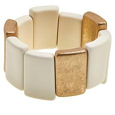 "MarlaWynne Two-Tone Mixed Media 6-1/2"" Stretch Bracelet"