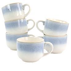 Martha Stewart Blue Rim 6pc 24-ounce Stoneware Latte Mug Set in Blue