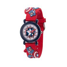 Marvel Captain America Kid's Time-Teacher Red Plastic Strap  Watch