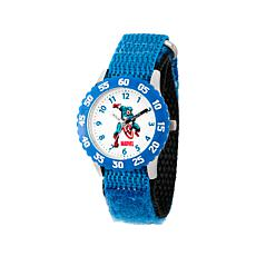 Marvel Captain America Kid's Time-Teacher Watch with Light Blue Strap