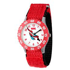 Marvel Spider Man Kids Red Steel Time Teacher Watch with Nylon Strap
