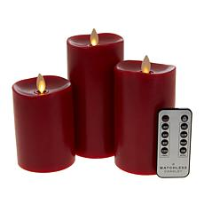 Matchless 3-pack Blow-Out Flameless Candles with Remote and Batteries