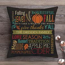 MBM Fall Words Personalized Throw Pillow