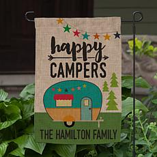 MBM Happy Campers Personalized Burlap Garden Flag