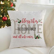 MBM Holiday Bless This Home Personalized Throw Pillow