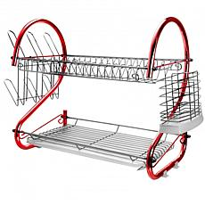 MegaChef 16 Inch Two Shelf Dish Rack in Red